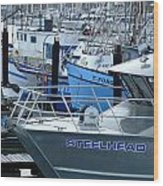 Steelhead And Fishing Boats Wood Print