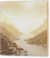 Misted Mountain River Passage Wood Print