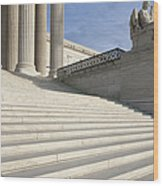 Steps And Statue Of The Supreme Court Building Wood Print by Roberto Westbrook