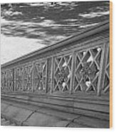 Steps Of Central Park In Black And White Wood Print