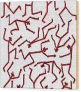 Stickmen Characters Nine Eleven Two K Ten Wood Print