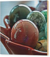 Still Life Crosses Reflected In Bowl Of Glass Marbles Art Prints Wood Print