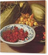 Still Life Of Cherries - Marrows And Pears Wood Print