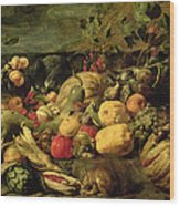 Still Life Of Fruits And Vegetables Wood Print