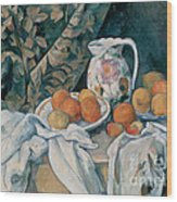Still Life With A Curtain Wood Print