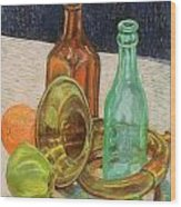 Still Life With Antique Car Horn Wood Print by David Bratzel