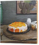Still Life With Cake And Cactus Wood Print