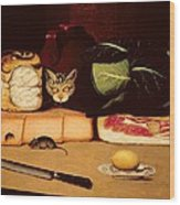 Still Life With Cat And Mouse Wood Print