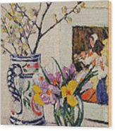 Still Life With Flowers In A Vase   Wood Print