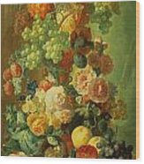 Still Life With Fruit And Flowers Wood Print