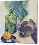 Still Life With Green Bottle Wood Print