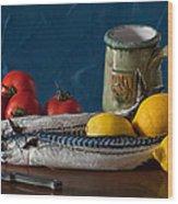 Still Life With Mackerels Lemons And Tomatoes Wood Print