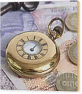 Still Life With Pocket Watch, Key Wood Print by Photo Researchers