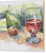 Still Life With Red Wine Glass Wood Print