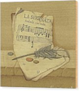 Still Life With Sheet Music Wood Print