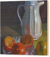 Still Life With White Carafe And Oranges Wood Print