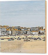 St.ives Bay.cornwall Wood Print by Karen Grist