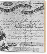 Stock Certificate, 1853 Wood Print