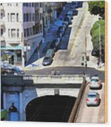 Stockton Street Tunnel In Hilly San Francisco . 7d7499 Wood Print by Wingsdomain Art and Photography