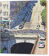 Stockton Street Tunnel Midday Late Summer In San Francisco Wood Print
