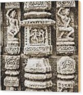Stone Carvings In An Indain Temple Wood Print