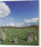 Stone Circles On A Landscape, Beaghmore Wood Print