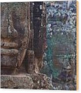 Stone Heads At Bayon Temple Wood Print