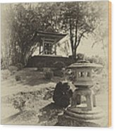 Stone Lantern And Temple Bell Wood Print