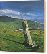 Stone On A Landscape, Ogham Stone Wood Print