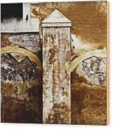 Stone Sight - Two Arches And A Column Draws A Disturbing Almost Human Face Wood Print