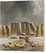 Stonehenge In Winter  Wood Print by Walter Williams