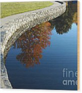 Stonewall And Autumn Reflections Wood Print