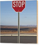 Stop Sign In The Desert Wood Print by Paul Edmondson