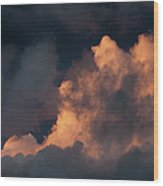 Storm Cloud Highlighted By Sun Wood Print