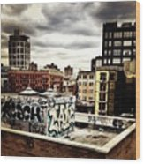 Storm Clouds And Graffiti Looking Out Wood Print