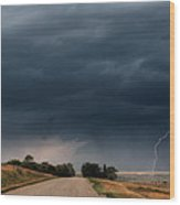 Storm Clouds And Lightning Along A Saskatchewan Country Road Wood Print