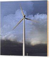 Storm Clouds And Wind Turbine Wood Print