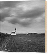 Storm Clouds Gather Over Church Wood Print