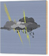 Storm Clouds, Lightning And Rain Wood Print