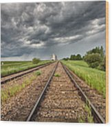 Storm Clouds Over Grain Elevator Wood Print