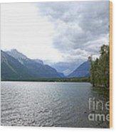 Storm Clouds Over Lake Mcdonald Wood Print