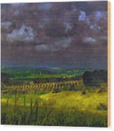 Storm Clouds Over Meadow Wood Print
