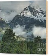 Storm  In The Tetons Wood Print