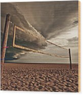 Volley Ball Net Wood Print