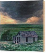 Storm Over Abandoned House Wood Print by Jill Battaglia