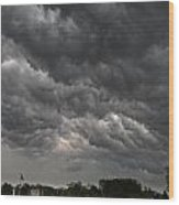 Storm Over Baseball Wood Print