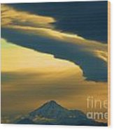Storm Over Shasta Wood Print