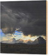 Storm Over the Tetons Wood Print