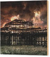 Storm Over The West Pier Wood Print