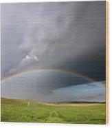 Storm Rainbow Prairie Wood Print by Ryan McGinnis